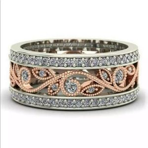New rose gold plated white sapphire ring #61